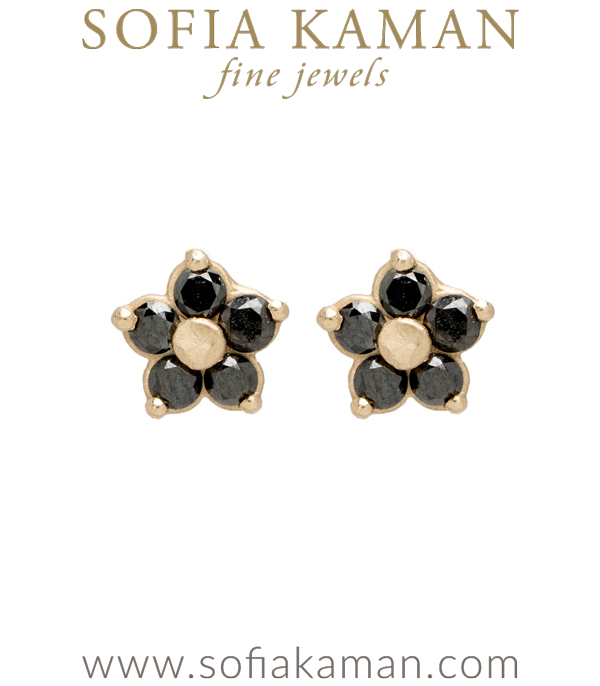 Ethically Sourced Black Diamond Mine Daisy Stud Earrings designed by Sofia Kaman handmade in Los Angeles using our SKFJ ethical jewelry process.