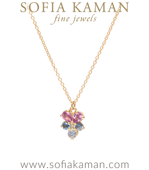 Matte Gold Sapphire Diamond Moonstone Bohemian Pansie Flower Necklace