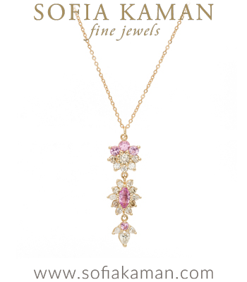 Georgian Inspired Blush Palette Diamond Sapphire Boho Wedding Necklace designed by Sofia Kaman handmade in Los Angeles