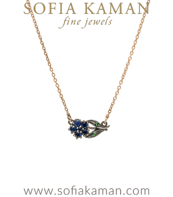14K Gold Antique Inspired Blue Sapphire Bohemian Flower Necklace designed by Sofia Kaman handmade in Los Angeles