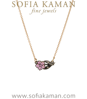 Charm Necklaces Antique Inspired Pink Sapphire Sideways Bridal Necklace designed by Sofia Kaman handmade in Los Angeles