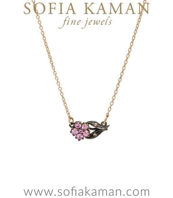 Antique Inspired Pink Sapphire Sideways Bridal Necklace designed by Sofia Kaman handmade in Los Angeles using our SKFJ ethical jewelry process.