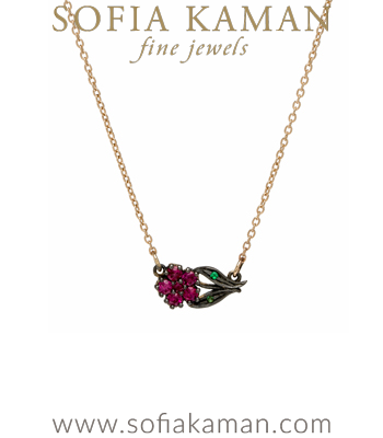 Charm Necklaces 14K Gold Antique Inspired Sideways Ruby Flower Necklace designed by Sofia Kaman handmade in Los Angeles