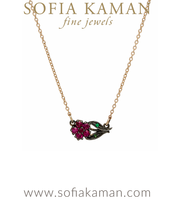 14K Gold Antique Inspired Sideways Ruby Flower Necklace designed by Sofia Kaman handmade in Los Angeles using our SKFJ ethical jewelry process.