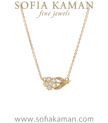 Gold Diamond Sideways Flower Charm Necklace designed by Sofia Kaman handmade in Los Angeles