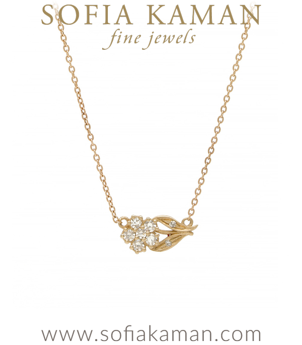 Gold Dimaond Bohemian Flower Necklace