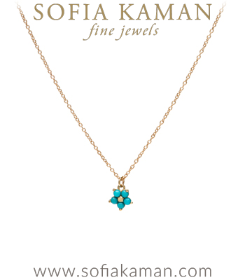 14K Matte Gold Turquoise Forget Me Not Boho Necklace made in Los Angeles