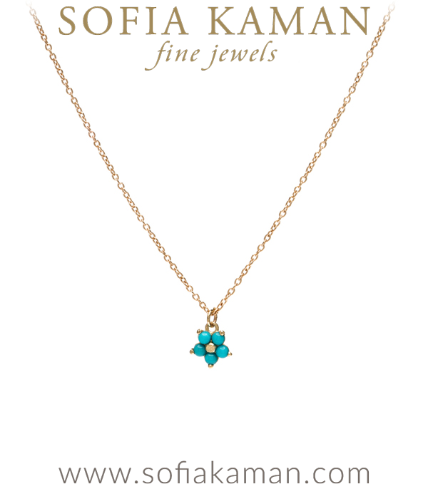 14K Matte Gold Turquoise Forget Me Not Boho Necklace designed by Sofia Kaman handmade in Los Angeles
