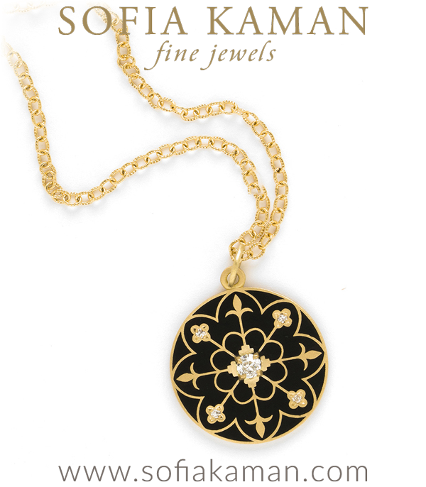 Gold Black Enamel Compass Mandala Diamond Pendant Necklace