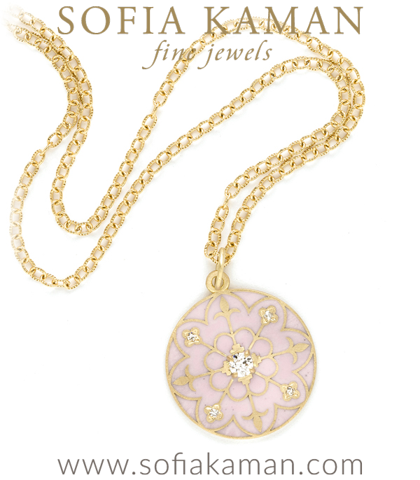 Gold Blush Enamel Compass Mandala Diamond Pendant Necklace