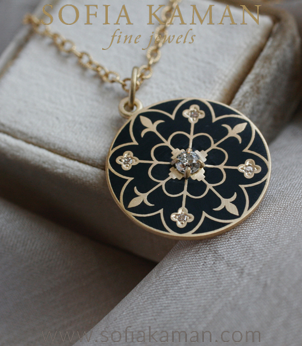 Gold Enamel Compass Mandala Diamond Pendant Necklace Shown