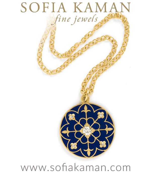 Gold Navy Enamel Compass Mandala Diamond Pendant Necklace