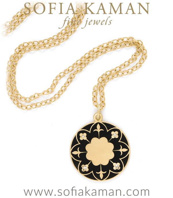 18k Gold Victorian Inspired Enamel Engravable Compass Mandala Pendant Necklace designed designed by Sofia Kaman handmade in Los Angeles using our SKFJ ethical jewelry process.