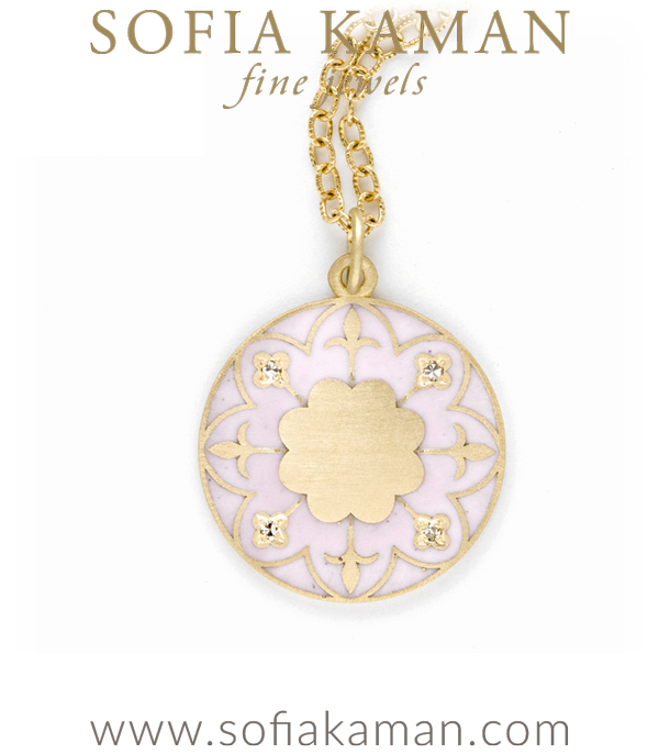 Engravable Victorian Gold Blush Enamel Compass Mandala Necklace