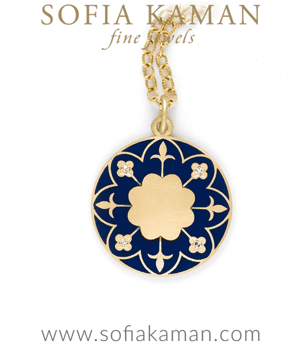 Engravable Victorian Gold Navy Enamel Compass Mandala Necklace