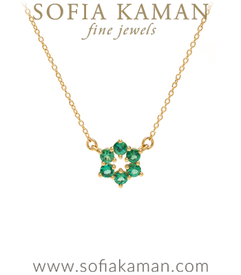 14K Gold Emerald Circlet Bridal Necklace goes with Engagement Rings designed by Sofia Kaman handmade in Los Angeles