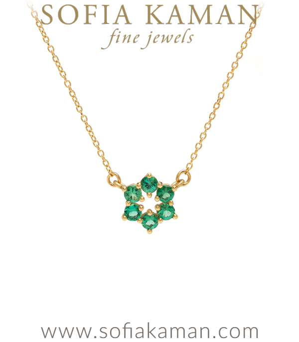 14K Gold Emerald Circlet Bridal Necklace goes with Engagement Rings designed by Sofia Kaman handmade in Los Angeles using our SKFJ ethical jewelry process.