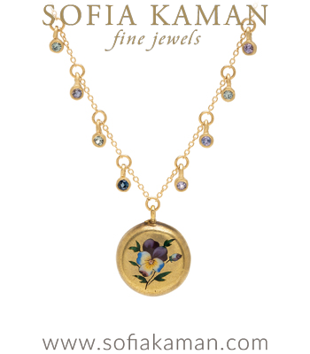 14K Gold Sapphire Pod Enamel Pansy Medallion Necklace perfect for engagement rings designed by Sofia Kaman handmade in Los Angeles