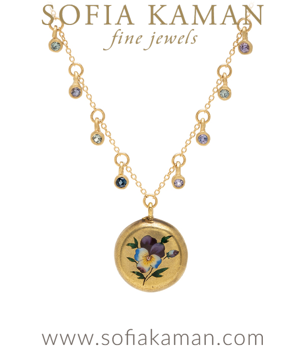 14K Gold Sapphire Pod Enamel Pansy Medallion Necklace perfect for engagement rings designed by Sofia Kaman handmade in Los Angeles using our SKFJ ethical jewelry process.