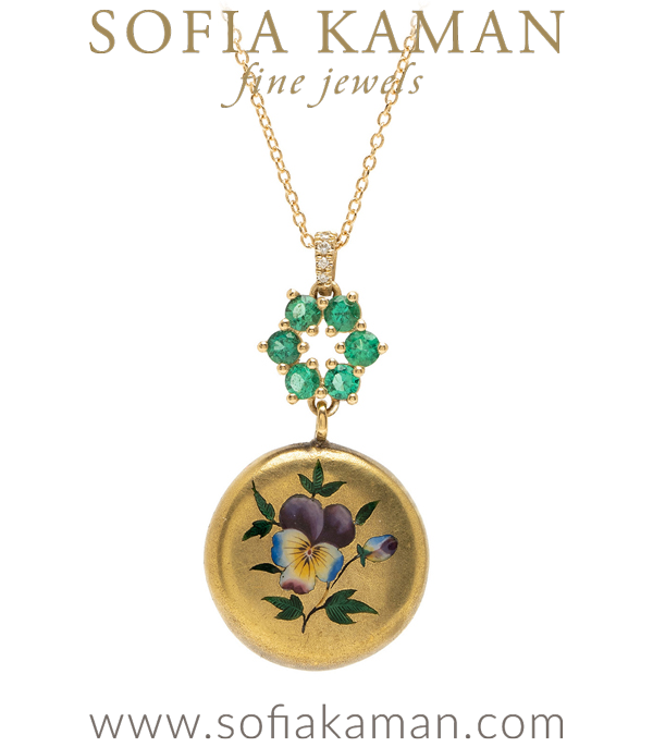 18K Gold Enamel Pansy Medallion Bridal Necklace for Engagement Rings designed by Sofia Kaman handmade in Los Angeles using our SKFJ ethical jewelry process.