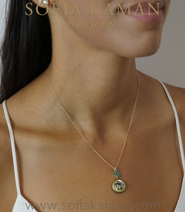 Emerald Pansy Pendant Bridal Necklace For Engagement Rings