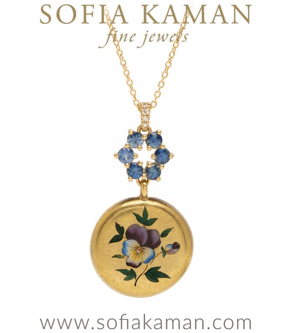 18K Gold Enamel Pansy Medallion 14K Gold Bridal Necklace for Engagement Rings designed by Sofia Kaman handmade in Los Angeles using our SKFJ ethical jewelry process.