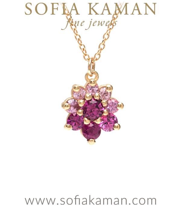 14k Matte Gold Pink Sapphire Rose Bohemian Necklace