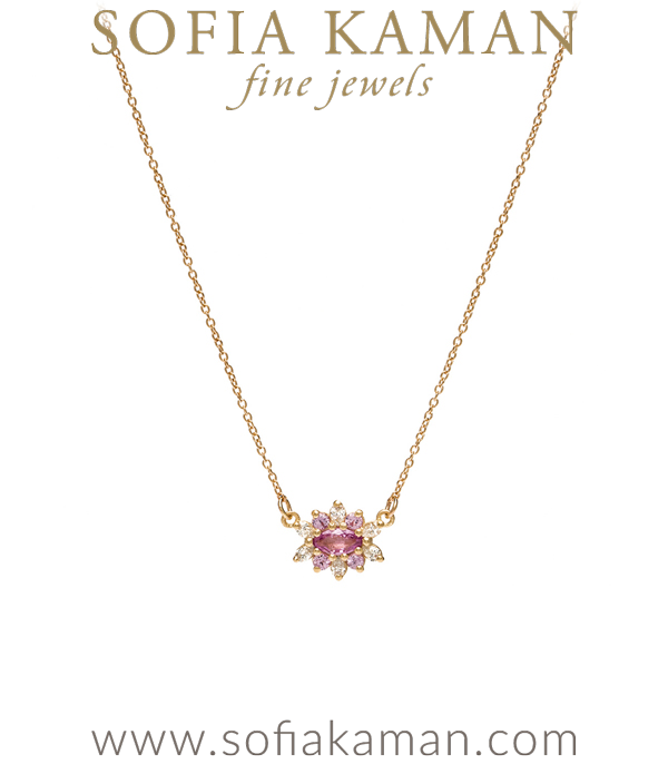 Victorian Antique Inspired Pink Sapphire Pear Shaped Diamond Dahlia Flower Bohemian Bride Wedding Necklace designed by Sofia Kaman handmade in Los Angeles