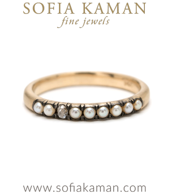 Vintage Inspired 14K Gold Pearl Diamond Boho Stacking Ring designed by Sofia Kaman handmade in Los Angeles