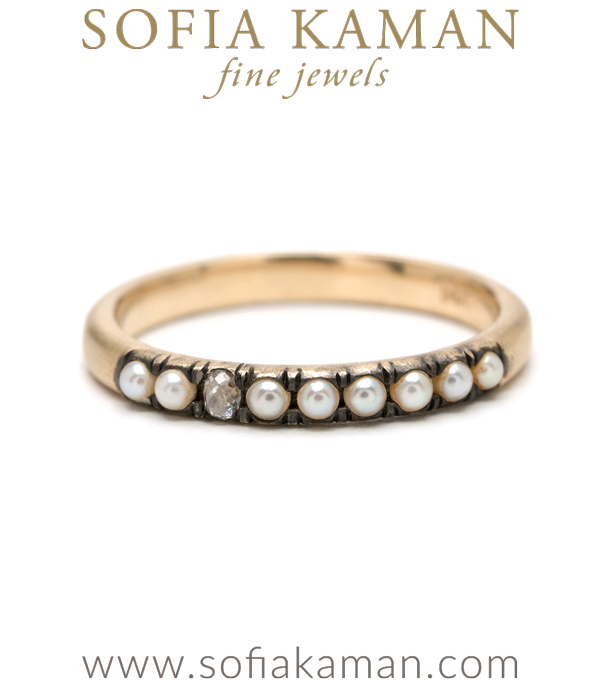 Vintage Inspired 14K Gold Pearl Diamond Boho Stacking Ring designed by Sofia Kaman handmade in Los Angeles using our SKFJ ethical jewelry process.