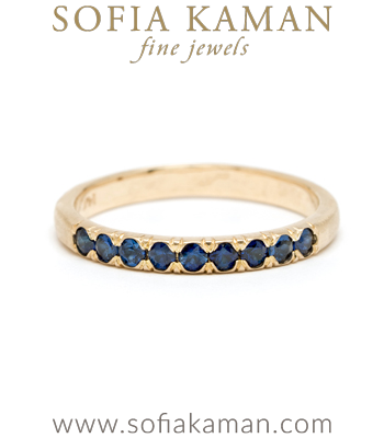 14K Blue Sapphire Ombre Boho Stacking Band designed by Sofia Kaman handmade in Los Angeles