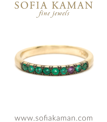 Gold Emerald Sapphire Boho Luxe Stacking Band made in Los Angeles