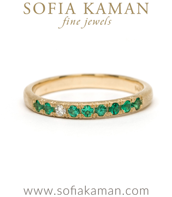 14K Matte Gold Emerald and Diamond Boho Stacking Ring designed by Sofia Kaman handmade in Los Angeles