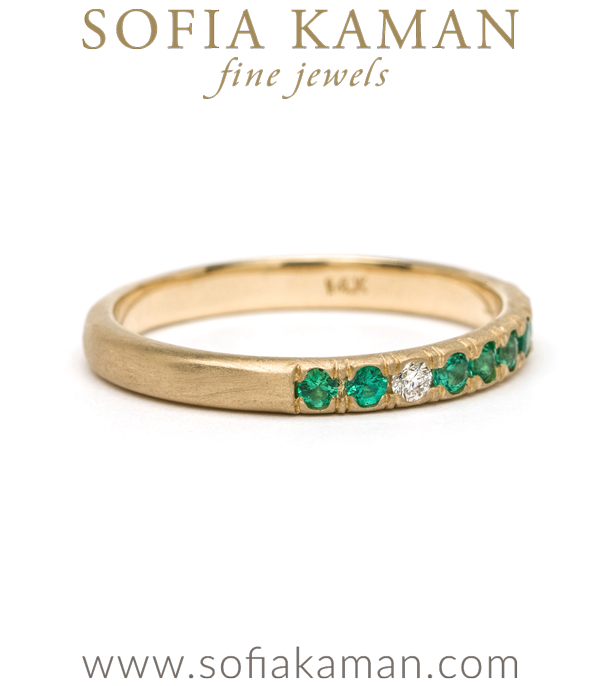 Boho Diamond Emerald Stacking Ring