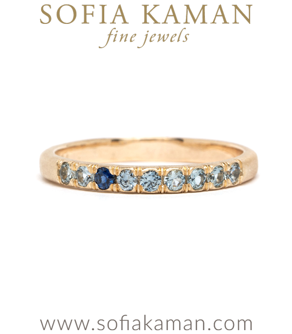 14K Gold Light Blue Sapphire Boho Stacking Ring designed by Sofia Kaman handmade in Los Angeles using our SKFJ ethical jewelry process.