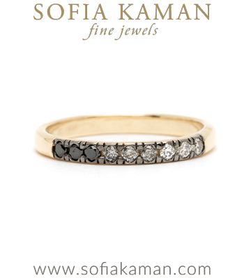 14K Matte Gold Ombre Salt and Pepper Diamond Wedding Band designed by Sofia Kaman handmade in Los Angeles