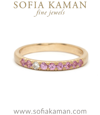 14K Gold Pink Sapphire Diamond Bohemian Unique Wedding Band designed by Sofia Kaman handmade in Los Angeles