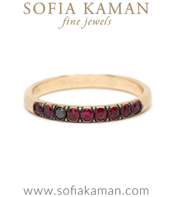 14K Gold July Birthstone Ruby Bohemian Unique Wedding Band designed by Sofia Kaman handmade in Los Angeles