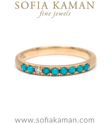 14K Gold Vintage Inspired Turquoise Diamond Boho Stacking Ring designed by Sofia Kaman handmade in Los Angeles