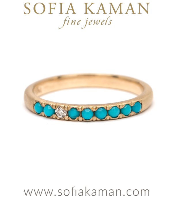 Top Language of Flowers | Turquoise and Diamond Stacking Ring ZQ53