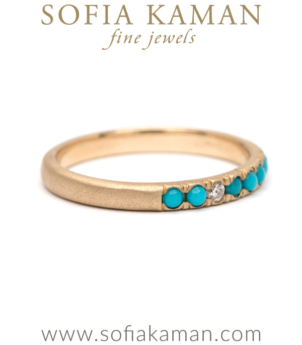 Vintage Inspired Turquoise Diamond Bohemain Stacking Ring