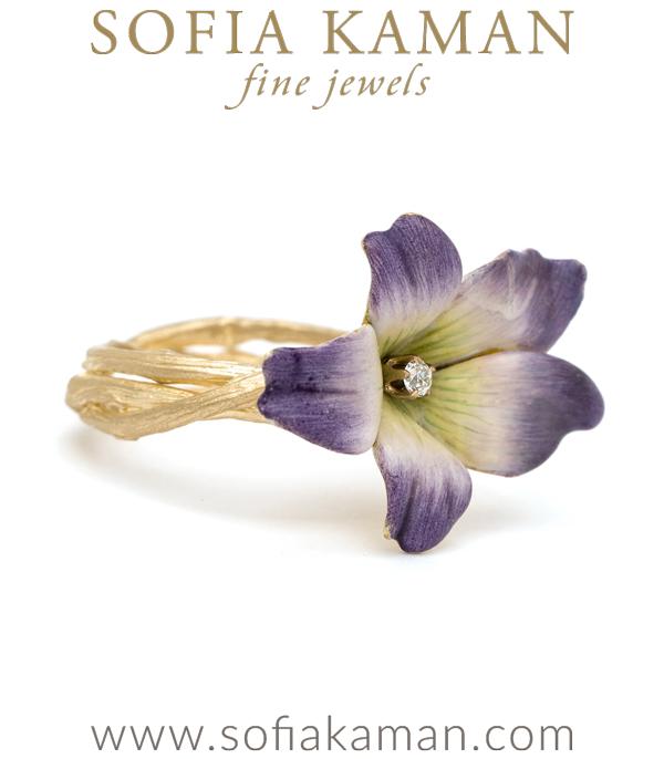 Twig Band Enamal Violet Boho Ring