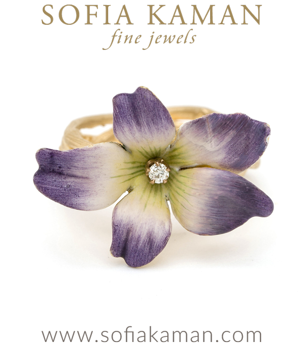 14K Matte Gold Woven Branches Twig Band Enamel Violet Flower Diamond Accent Boho Ring designed by Sofia Kaman handmade in Los Angeles using our SKFJ ethical jewelry process.