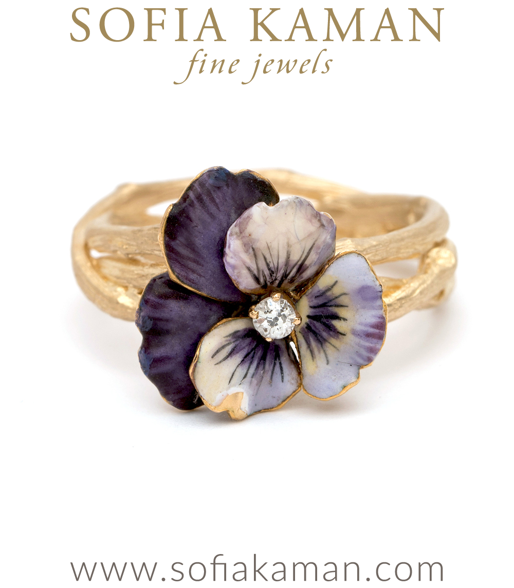 Enamel Pansy ring on Woven Branch
