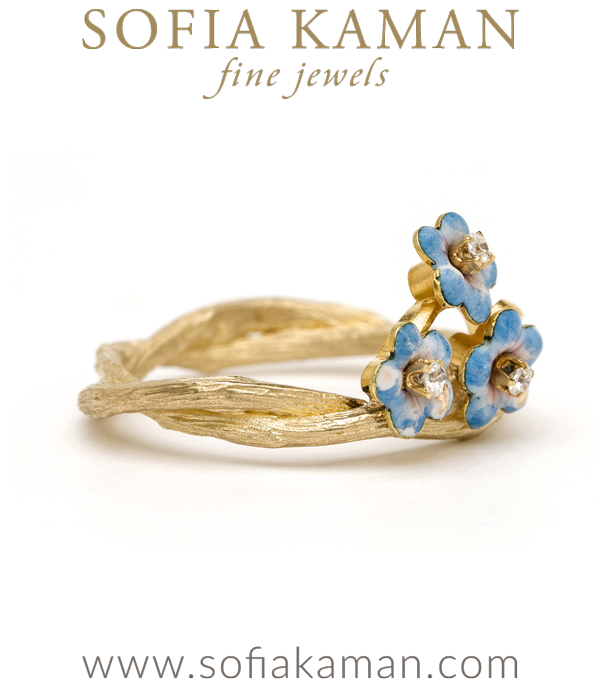 Twig Band Flower Stacking Ring By Sofia Kaman
