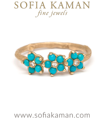 Turquoise Forget Me Not Gold Twig Band Boho Stacking Ring designed by Sofia Kaman handmade in Los Angeles