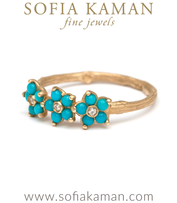 Turquoise Forget Me Not Twig Band Boho Stacking Ring