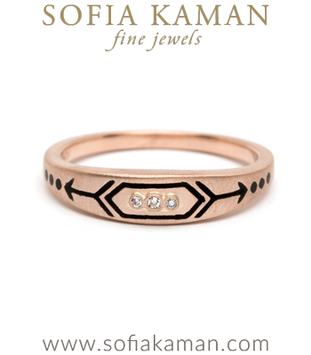 Rose Gold Black Enamel Victorian Inspired Arrow Stacking Ring designed by Sofia Kaman handmade in Los Angeles