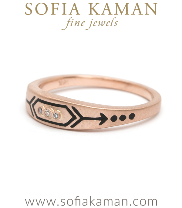 Rose Gold Black Enamal Stacking Ring
