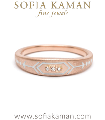 Rose Gold White Enamel Victorian Inspired Arrow Stacking Ring designed by Sofia Kaman handmade in Los Angeles